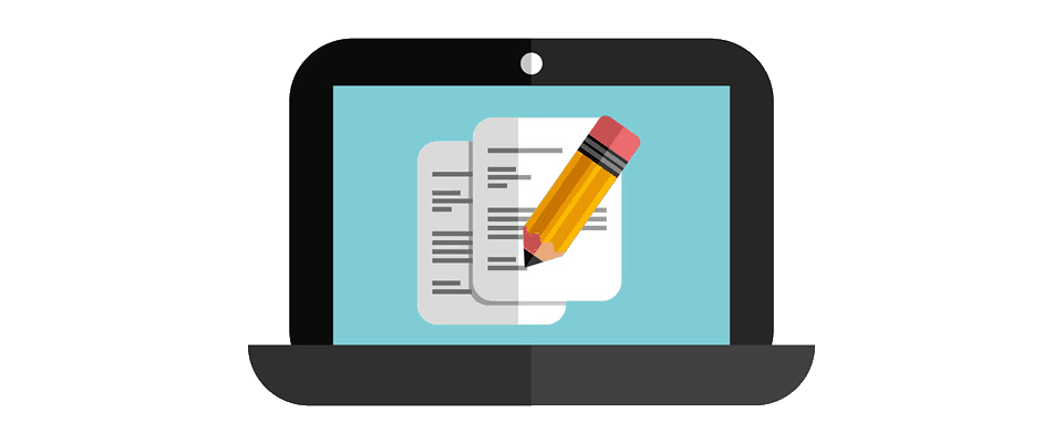 pen and paper on laptop communication icon