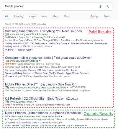 organic v paid google search results