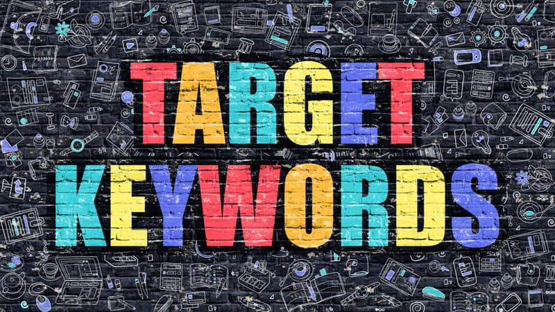 target keywords graphic on brick wall