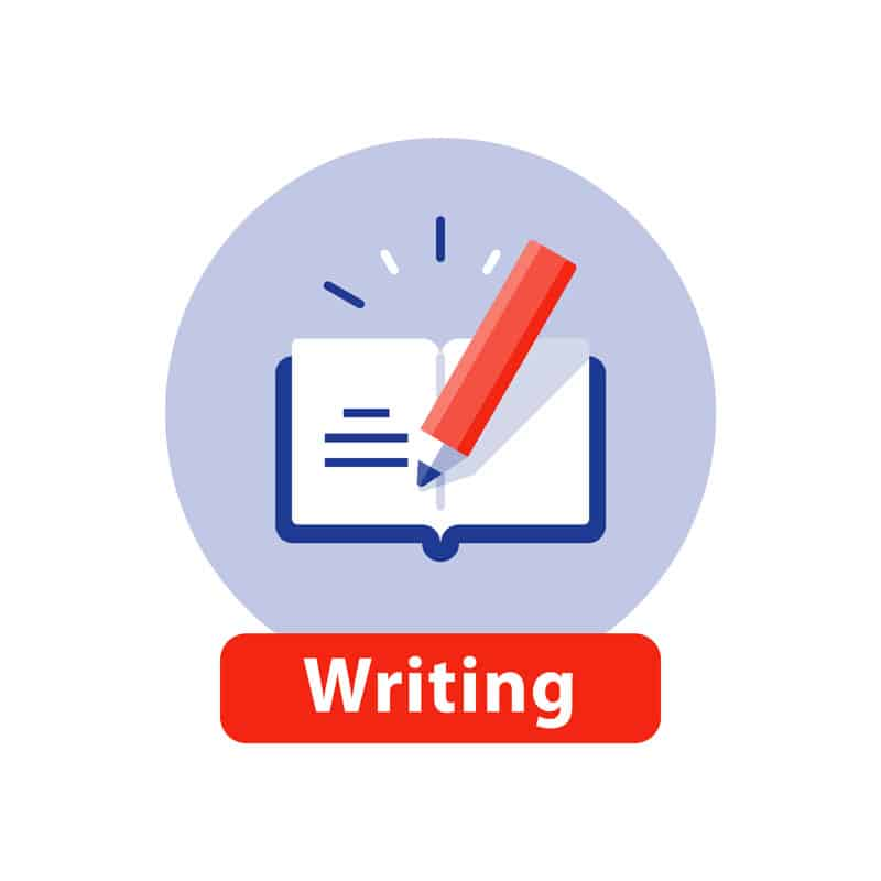 Writing graphic icon pencil in notebook
