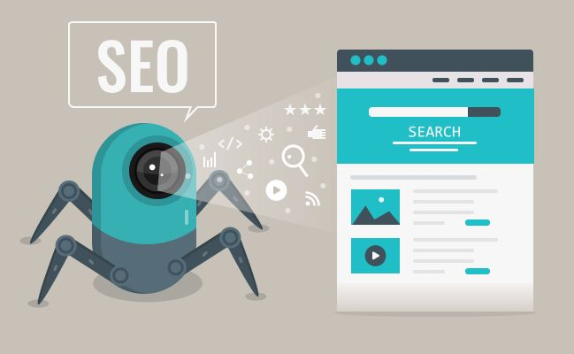 search engine crawler seo bot reading content on web page graphic